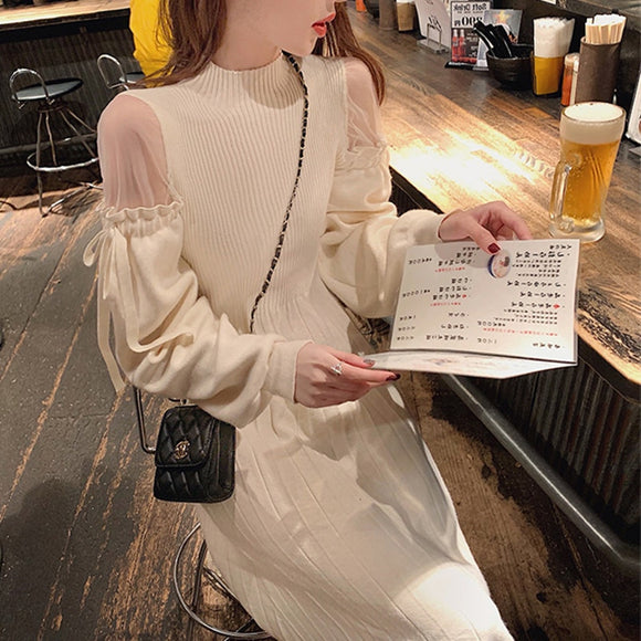 Women's dress 2020 autumn and winter new first love style sexy strapless long-sleeved knitted dress base sweater skirt