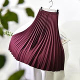 Women's Elegant Solid Color Midi Long Skirt Korean High Waist Pleated Thick Slim A-Line Skirts For Suits Saias 2021 Spring Sk647