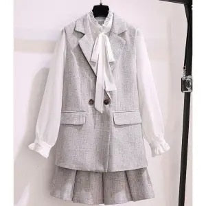 Large size women's suit skirt suit Korean version of the new professional wear small autumn outfit  two piece set women