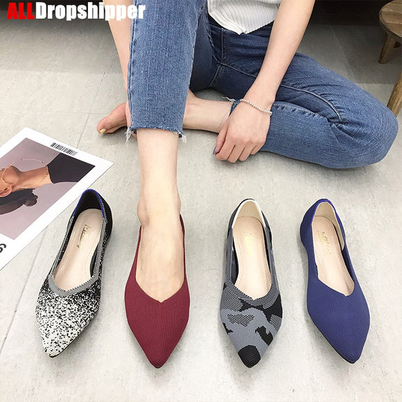2020 Woman Knit Pointed Shoes Women's Flat Shoes Ballet Shoes Moccasin Mixed Color Shoes Soft Pregnant Shoes Zapatos De Mujer