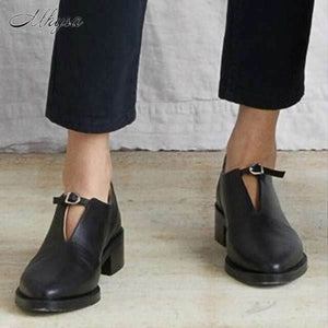 2020 New Women's with Heel Single Shoes Fashion Square-Heel Overshoes Pointed Mid Heel Buckle Pu Women's Shoes Zapatos De Mujer