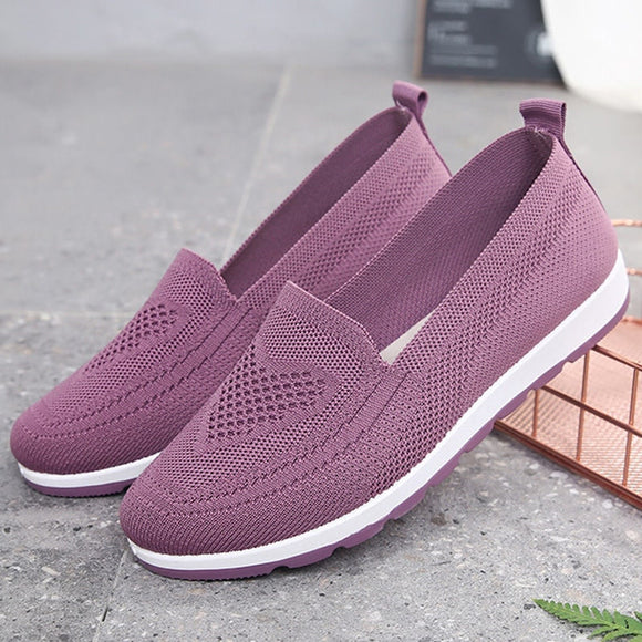 Women's Footwear Autumn Vulcanized Shoes Light Sneakers Knitted Ladies Shoes 2021 Slip On Sock Shoe Breathable Female Flat Shoes