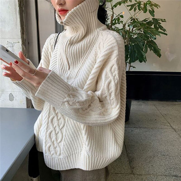 Chic Sweater With Zpper Women's Sweater Stand Collar Autumn Winter Loose Striped Long Sleeve Female Pullovers Cashmere Sweater