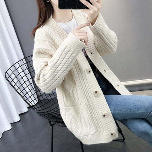 Autumn Winter Sweater Cardigans Women V neck Long Sleeve Loose Sweater Jacket Female Knit Coat New Fashion Thicken Knit Sweater