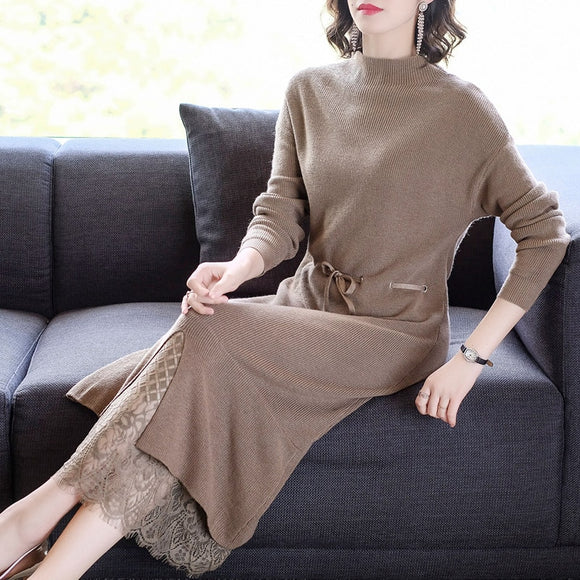 3XL Plus Size Vintage Women's Turtleneck Sweater Dress 2021 Winter Casual Knitting Maxi Dresses Elegant Bodycon Party Vestidos