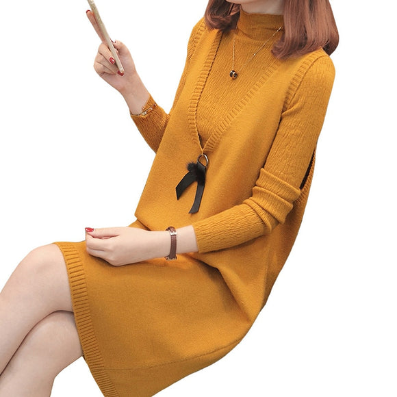2018 Autumn Women's Sweater Dress V-neck Two-piece Knitting Vest Sweaters Set Pullovers Knitted Sweaters Female Jumper Tops S96