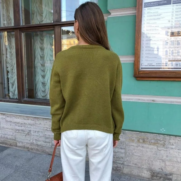 Oversized loose pullover women's O-neck jersey pullover fall/winter pullover European style casual sweater warm pullover