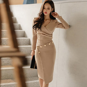 New arrival women's temperament gentle warm short v-neck shirt solid comfortable slim asymmetrical skirt fashion 2 pieces sets