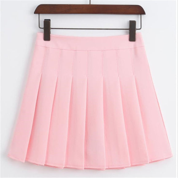 Merry pretty High Waist Short School Pleated Skirt Women's Mini Sexy Pink Summer Skirts Womens Leggings Female kawaii Sun Skirt