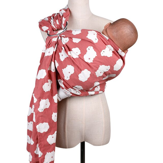Ring Sling Baby Cotton Wrap Carrier- Newborn, Infant, Toddler -Pacifier Clip Carry Bag Gift - Heybaby.