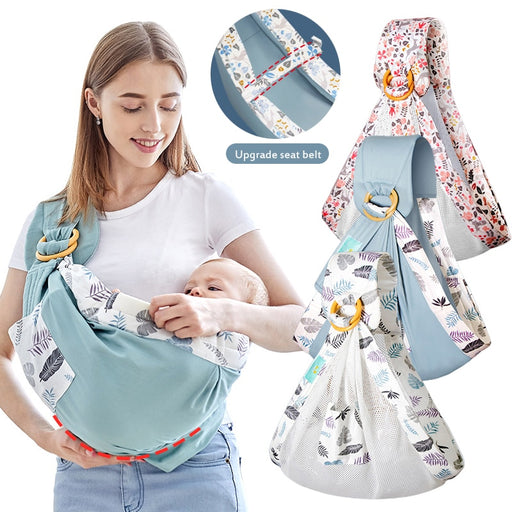 Natural Cotton Baby Wrap Carrier Newborn Nursing Cover Mesh Fabric Breastfeeding Carriers - Heybaby.