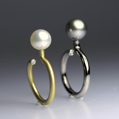 One Pearl Half Round and Round Ring