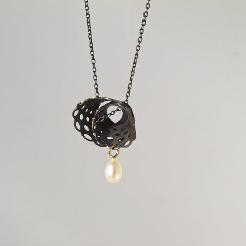 Small Spiral Doily Necklace with Pearl