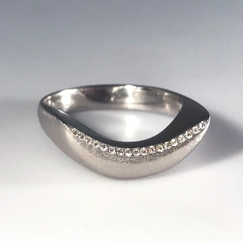 Crescent Ring with Diamonds