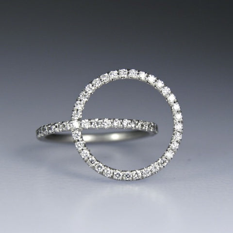 Tangent Ring With Diamonds