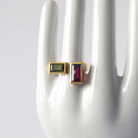 U Ring With Rectangular Stones