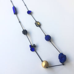 Hydrangea Necklace with Azurite