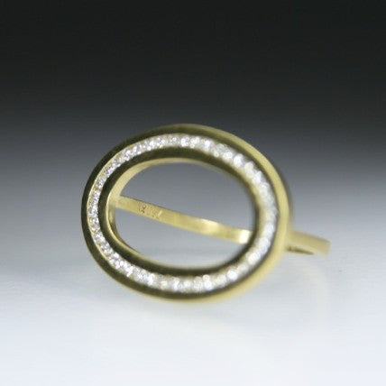 Ellipse Ring With Diamonds