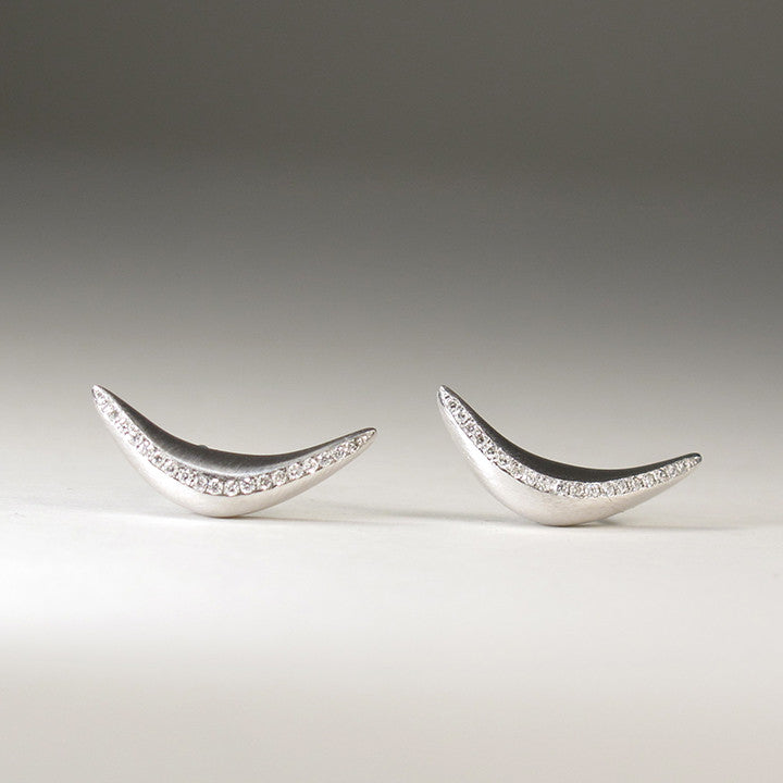 Crescent Earrings with Diamonds