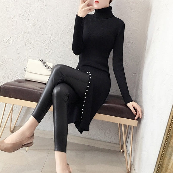 High-necked Female sweater open skirt women's long section autumn and winter Korean fashion sleeves beaded bottoming sweater