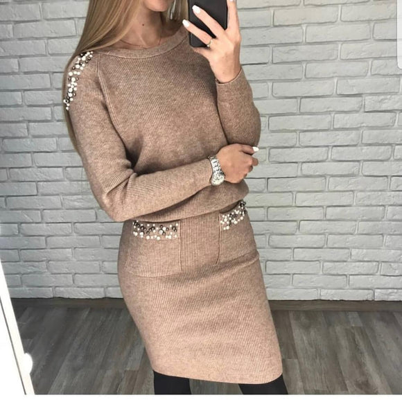women's suit Beaded Sweater + Skirt Suits Female Sexy Off Shoulder Long Sleeve Pullovers Woman Knitted Skirts Set two piece set