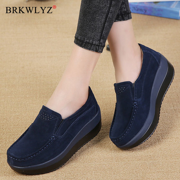 Women Flat Platform Loafers Ladies Elegant Suede Leather Moccasins Shoes Woman Slip On Moccasin Women's Blue Casual Shoes