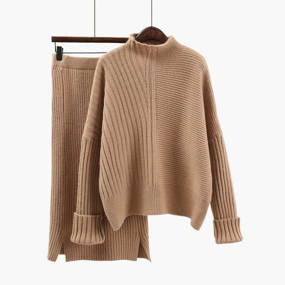 2021 New Fashion Autumn Women's Long Sleeve Loose Knit Sweater + High Waist Skirt Two Pieces Female Casual Knitting Skirt Set