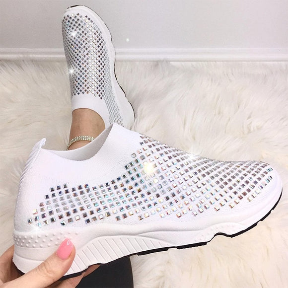 Women's Vulcanized Shoes Rhinestone Bling Autumn Light Sneakers Soft Comfortable Ladies Flat Shoes 2021 Slip on Female Footwear