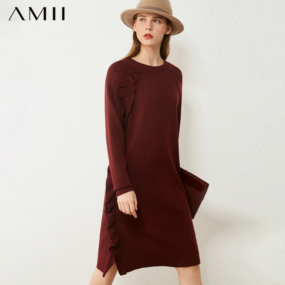 AMII Minimalism Autumn Sweater Dress Fashion Solid Oneck Ruffle Knitted Women's Dress Causal Dresses For Women  12040517