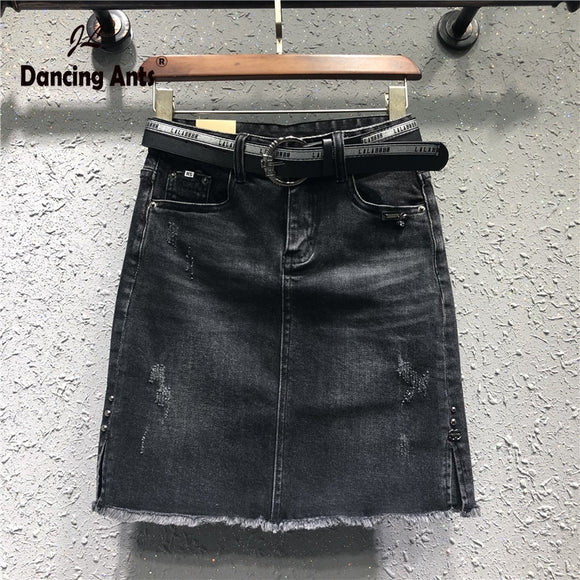 Plus-Size Women's Spring Summer Jeans Skirts Harajuku High Waist Ripped Office Lady Female Cotton Denim A-line Skirts 2020 New
