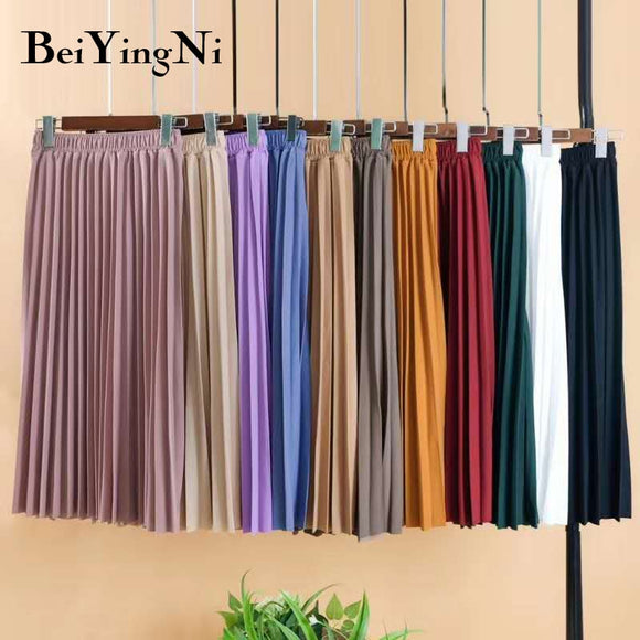 Beiyingni Women Skirt Fashion High Waist Pleated Skirts Female Vintage Korean Style Plain Solid Color Promotions Lady Black Pink