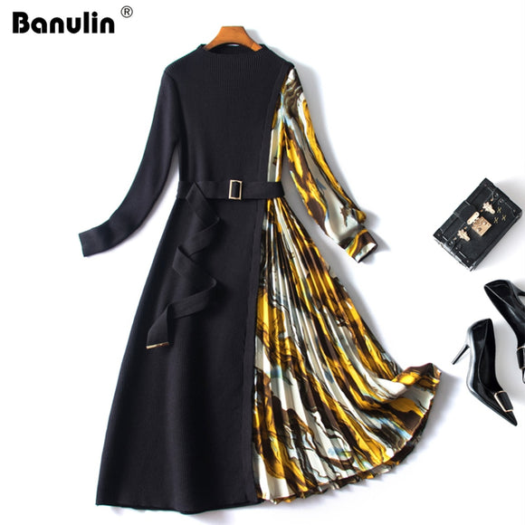 Banulin Fashion Designer Autumn Knitted Patchwork Sweater Dress Women's Long Sleeve Sashes Splicing Floral Print Pleated Dress