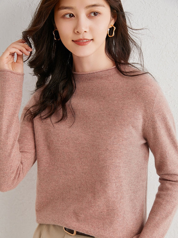 Semi-worsted 100% Wool O-neck Pullover Sweater Rolled Collar Cuff Women's Jumper Pure Wool 2020 Variegated Color Series