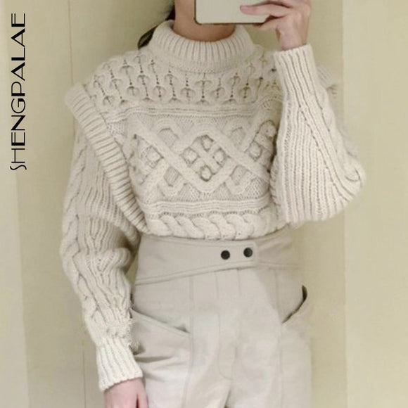 SHENGPALAE Solid Color Women's Chic Knitted Sweater O-neck Twist Weave Fake Two Autumn And Winter New Loose Pullovers 2021 5A275