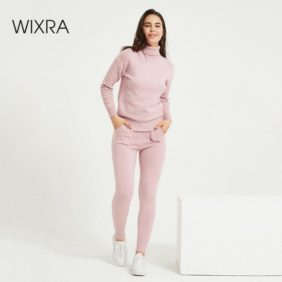 Wixra Women's Sweater Suits and Sets Turtleneck Full Sleeve Knitting Sweaters+Long Trousers 2PCS Sets High Stretch Costume