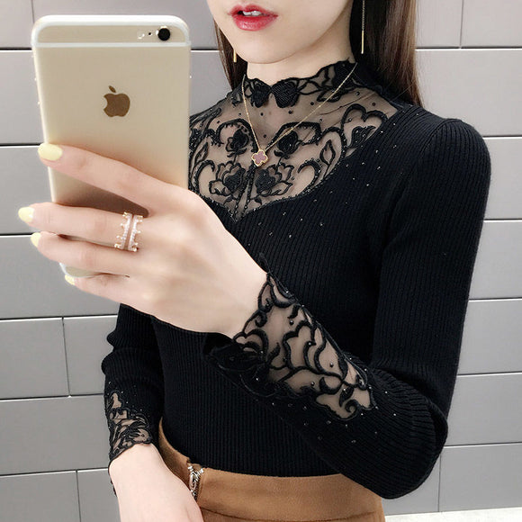 Women's Knitwear Slim-Fit Short Sweater 2020 New Fashion Outdoor Lace Collar Bottoming Shirt Long-Sleeved Top