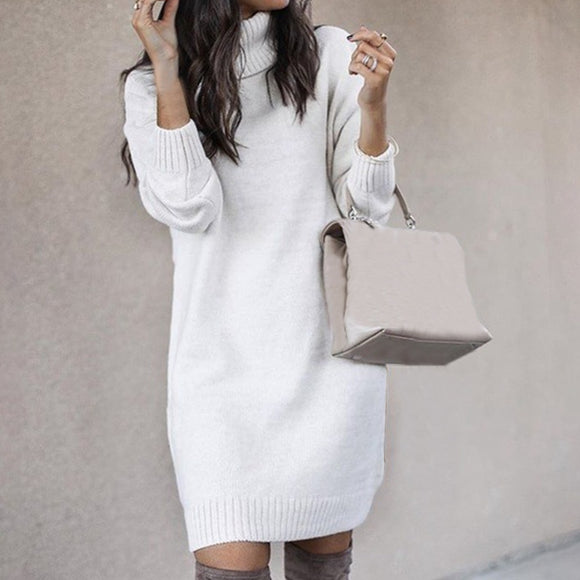 Long sleeve turtleneck pullover autumn and winter women's dress loose top knit pullover casual knitted sweater dress