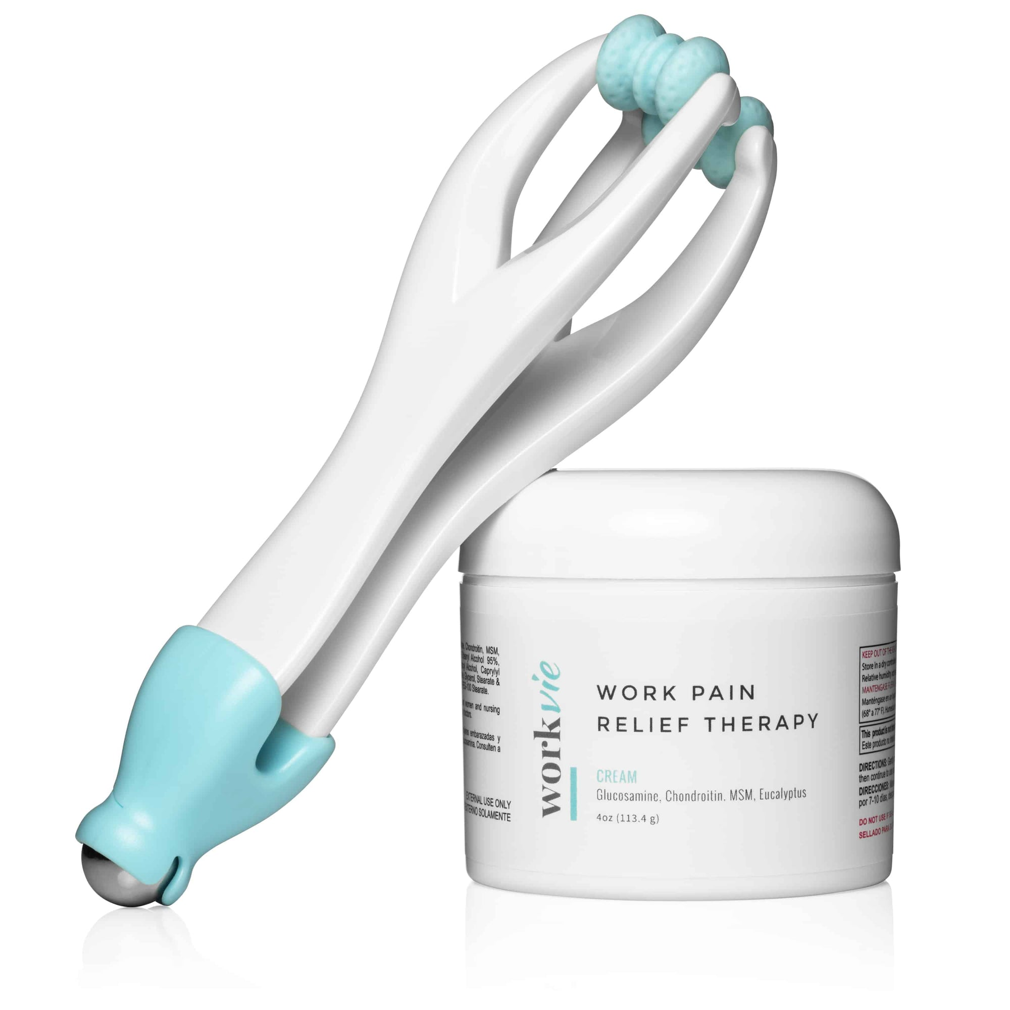 Pain Relief Cream and Finger Massager for Carpal Tunnel, Arthritis, Kim Kardashian Wrist- Workvie Work Wellness