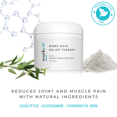 Workvie Pain Relief Therapy Cream with Glucosamine Chondroitin MSM and Eucalyptus 4 oz Large Size Workvie Work Wellness