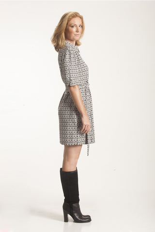 Black and White Belted Shift Dress
