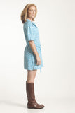 Teal Belted Shift Dress
