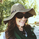 Wide Brim Black Tweed Sun Hat