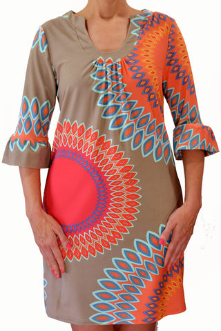 Peach Bonita Sunburst Dress