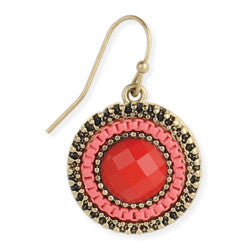 Red and Gold Round Earrings