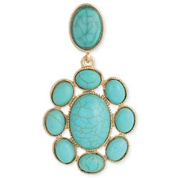 earrings turquoise gold flower post