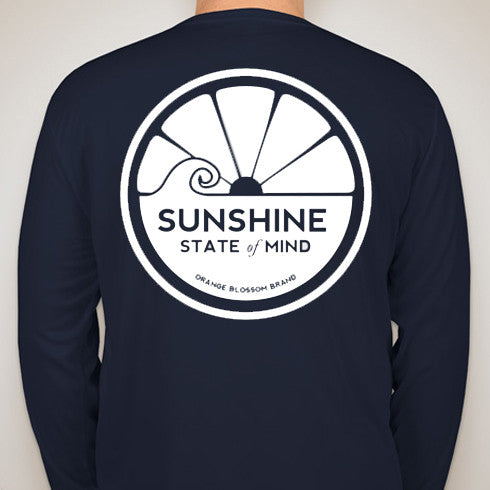 Sunshine State of Mind Long Sleeve Performance Tee - Navy