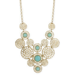 Gold and Mint Bib Necklace