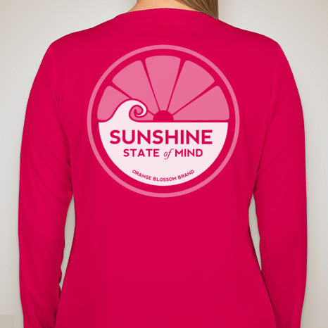 Sunshine State of Mind Long Sleeve Performance Tee - Raspberry Pink