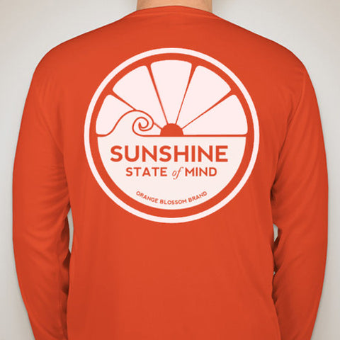 Sunshine State of Mind Long Sleeve Performance Tee - Orange