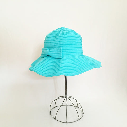 Tied with a Bow Aqua Sun Hat